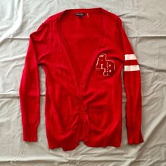 Varsity style cardigan Long, very nice red colored, varsity style cardigan, only worn once, super comfy and light weight! 100% cotton Actual Basic American Brand Jackets & Coats