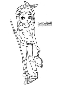 Cleaning Up - Lineart by *JadeDragonne on deviantART http://www.pinterest.com/66Ladybee/digi-stamps-jade-dragonne/