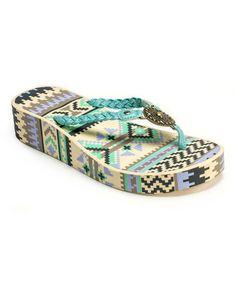 Another great find on #zulily! Mint Sierra Wedge Flip-Flop by MUK LUKS #zulilyfinds