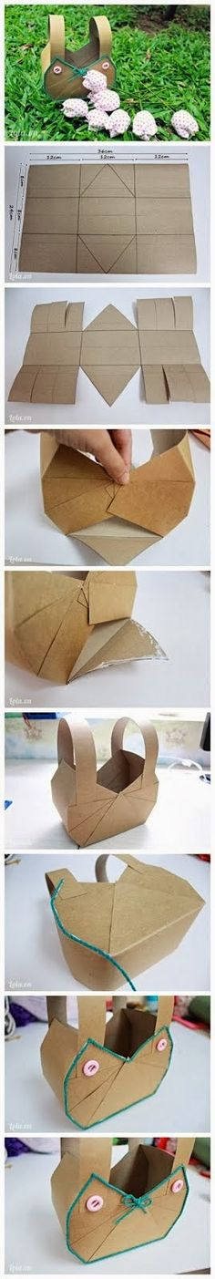 Easy Way To Make Paper Basket..a tisket a tasked a green and yellow basket
