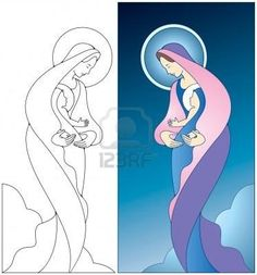 Find Virgin Mary Holding Baby Jesus Color stock images in HD and millions of other royalty-free stock photos, illustrations and vectors in the Shutterstock collection. Christmas Drawing, Christmas Paintings, Christmas Art, Stained Glass Quilt, Faux Stained Glass, Jesus Painting, Holding Baby, Baby Tattoos, Madonna And Child