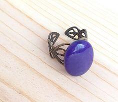 Purple oval adjustable ring by CraftingAwayTheFeels on Etsy
