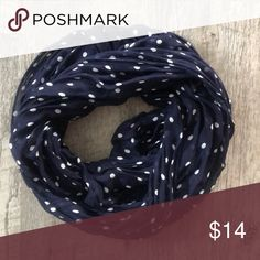 CHARMING CHARLIE Navy Polka Dot Infinity Scarf Pet free smoke free home Charming Charlie Accessories Scarves & Wraps