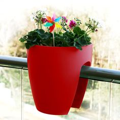 Railing Planter - Red (Set of 2) by Greenbo | Urbilis.com | http://www.urbilis.com/railing-planter-set-of-2/