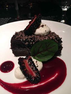 Chocolate fan? Get this #chocolate torte at Sage at Aria in #Vegas. It's topped with blackberry gelee, Chantilly cream and cocoa nib.