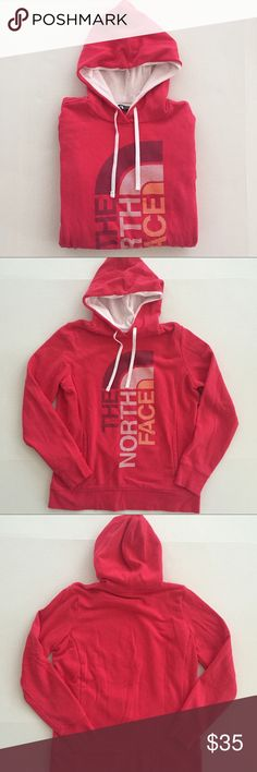 [North Face] women's hoodie sweatshirt L [North Face] women's hoodie sweatshirt L •🆕listing •great pre-owned condition, worn only a couple times •bright pink/red color with logo screen •front hand pocket •material 80% cotton 20% polyester, very soft fleece interior •Offers welcomed using the offer feature or bundle/bundle offer for the best discount• The North Face Tops Sweatshirts & Hoodies