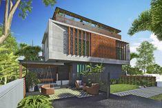 Louvered House (3) Modern Exterior House Designs, Modern House Facades, Modern Villa Design, Dream House Exterior, Modern Architecture House, Facade Architecture, Residential Architecture, Exterior Design, Bungalow House Design