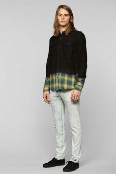 Devil's Harvest Dip-Dye Plaid Button-Down Shirt #urbanoutfitters