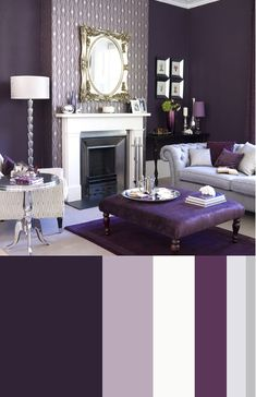 Little obsessed with the color palette and the patterned wall paper to accent the fireplace wall