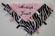 Monogrammed Zebra / lush Pink swirl minky Lovey - by The Sleeping Babe $23