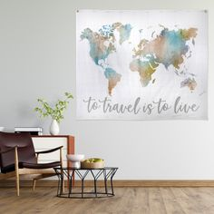 To Travel Is To Live Map Hanging Wall Tapestry