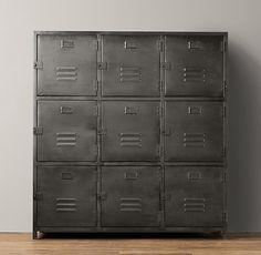 """Eh - dresser, bookshelf... I might need more than 3-ish..."" ~K  Vintage Locker 9-Door Cabinet"