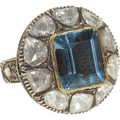 Art Deco Aquamarine and Diamond in Platinum Setting.
