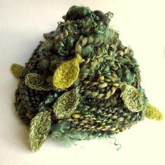 Handspun art yarn chunky knitting yarn with leaves by thefibretree