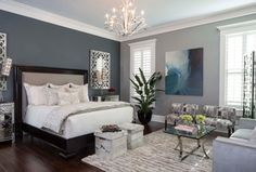 Transitional Master Bedroom with 5 Light Smokey Gray Crystal Candelabra Chandelier, Hardwood floors, Chandelier, Carpet