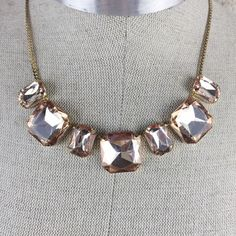 """Statement Necklace Brand new never worn 18"""" with 3"""" extender gold band with sparkling glass stones Jewelry Necklaces"""