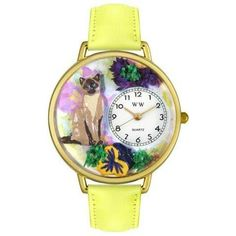 Whimsical Unisex Siamese Cat Yellow Leather Watch