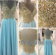 Elegant backless long prom dress, ball gown, 2016 blue chiffon prom dress for teens #coniefox #2016prom