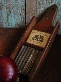 Old Farmhouse Kitchen Vintage Wood & Tin Grater