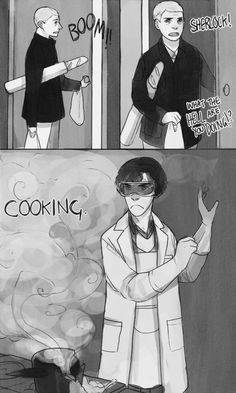 Soufflé Girl and the Doctor who saved her from being a machine, who let her feel human again… Maybe John and Sherlock are just the happy ending of that same story. Fan Art Sherlock, Sherlock Comic, Sherlock Holmes Bbc, Sherlock Fandom, Sherlock John, Moriarty, Funny Sherlock, Watson Sherlock, Johnlock