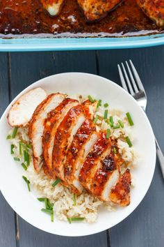 """Comforting, and yet not too spicy (my 4 year old loved this!) these sweet sriracha chicken breasts are perfect for a quick, weeknight meal!   http""""//thecookiewriter.com   #chicken #glutenfree"""