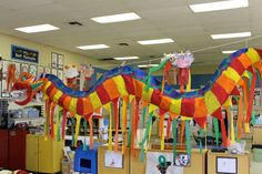 Kindergarten's dragon celebrating Chinese New Year.