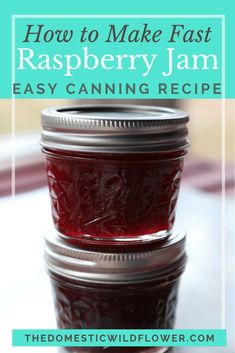 How To Make Fast Raspberry Jam Canning Recipe - Perfect for beginners, this recipe can be done in under 20 minutes! You can download the free equipment checklist if you are a newbie, or skip canning it entirely! Such a great recipe for the fastest raspberry jam!