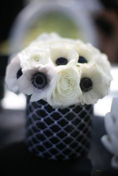 white anemones and ranunculus
