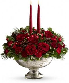 love the mercury glass and red roses