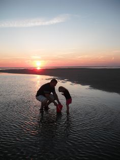 My husband and daughter searching for hermit crabs at sunset in the Cape Cod Bay, MA. Family is what vacation is all about. Submitted by Tammy S.  #pureleaf #pinittowinit