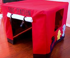 cover a card table for pretend play! I had one of these shaped like a circus tent when I was a kid.
