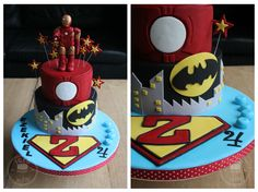 A SuperHero cake for my son Ezekiel!!  Zeke loves Iron Man, Batman (Lego) & Superman - he also loves Capt. America (all the Avengers) & Darth Vader, I had made cupcake toppers in those later themes to go with the cake, but ran out of time in the end!