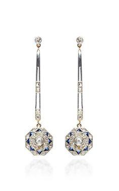 Vintage Diamond And Sapphire Drop Earrings by Doyle & Doyle for Preorder on Moda Operandi
