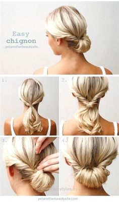 Check it out Do a topsy tail (inverted ponytail) and tuck the ends in to make an easy chignon. | 27 Tips And Tricks To Get The Perfect Ponytail  The post  Do a topsy tail (inverted ponytail) and tuc ..