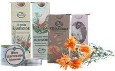 Salves, Creams and Liniments Organic Herbs, Finland, Range, Skin Care, Pure Products, Cream, Nature, Design, Creme Caramel