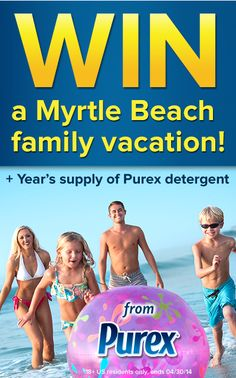 *THIS SWEEPSTAKES HAS ENDED* Who'd like a Myrtle Beach family vacation at Crown Reef Resort + a year's supply of Purex detergent? Repin and enter.
