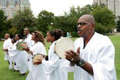 Gospel choir in all white robes