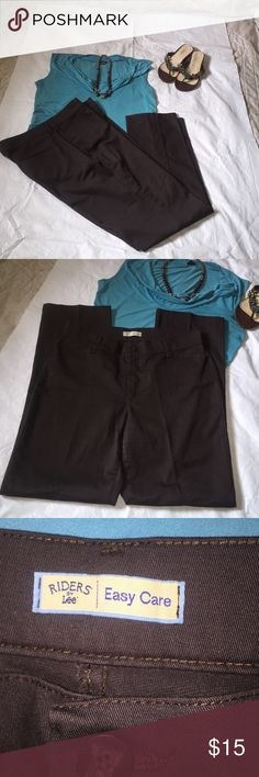 Brown Lee Riders Slacks Rides By Lee (easy care) slacks. Brown, very comfortable fit! In like new condition! Size 14M Lee Pants Trousers