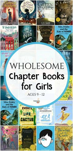 Because you requested this, I've made a wholesome middle grade chapter book list for girls ages 9 - 12 with nice (not catty or mean) female main characters. My criteria for books on this list is this:  excellent writing books with main characters you'd want to be friends with your kids books with nice main characters (for the most part, we all have bad days) books with characters who are respectful towards adults and siblings no romance no swearing  As I mentioned on the chapter book list…
