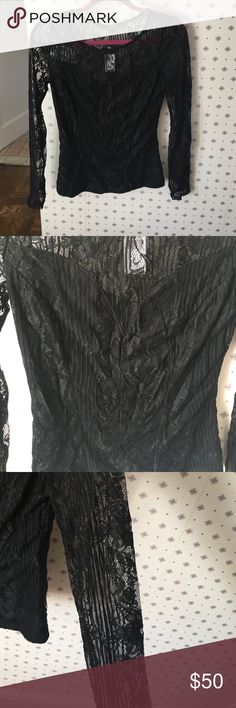 GUESS long sleeve striped lace top Black top with lace all over, lace sleeve. Great with black skirt or jeans. Never worn. Guess Tops Blouses