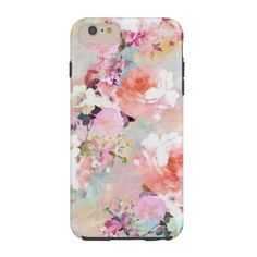 Romantic Pink Teal Watercolor Chic Floral Pattern Tough iPhone 6 Plus... ($42) ❤ liked on Polyvore featuring accessories and tech accessories