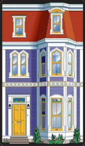 Jelly Bean Row house - Product Details standard size. Doll house opening front doors. Mosaic Windows, Atlantic Canada, Prince Edward Island, New Brunswick, Newfoundland, Jelly Beans, Dollhouse Furniture, Cut Glass, Quilt Making
