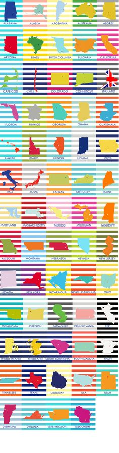 Downloadable States and Countries- Would be fun to print and frame for M's room- the places he's been