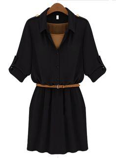 Black Lapel Belt Bandeau Chiffon Dress.