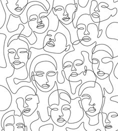 Crowded Girls Mini Art Print by Explicit Design - Without Stand - x Face Line Drawing, Abstract Face Art, Minimal Art, Aesthetic Art, Wall Collage, Art Inspo, Line Art, Art Drawings, Abstract Drawings