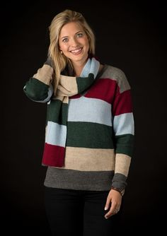 1583 - Stribet sweater med tørklæde Opskrifter Mayflower