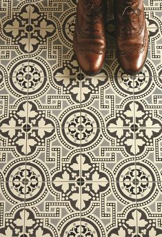 Geometric Victorian style printed tiles in a monochrome pattern make a statement in hallways, living rooms, bathrooms, kitchens. Monochrome Pattern, Kitchen Flooring, Flooring Tiles, Cement Tiles, Wooden Flooring, White Flooring, Wood Tiles, Brick Flooring, Basement Flooring