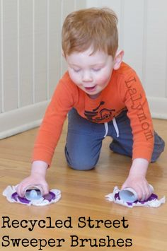 Recycled Crafts for Kids - Make reusable street sweeper brushes for pretend play, They really clean too! Parent Hack woot!