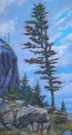 This tree was standing alone on the spot, It was very tall and close to the rocks. It did catch my attention, so, I painted. Website Images, Landscape Artwork, Paintings I Love, Love At First Sight, Rocky Mountains, The Rock, Impressionist, Fly Fishing, All Art