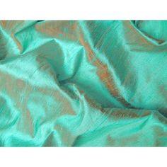 Aqua Golden Pumpkin Iridescent Dupioni Silk Fabric